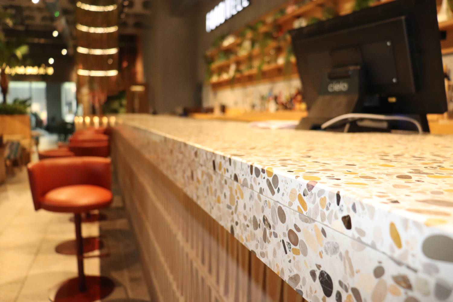 Terrazzo Worktops at Foodwell Restaurant Deansgate Manchester